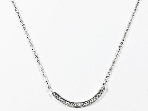 Elegant Fun Simple Curve Bar Design CZ Silver Necklace