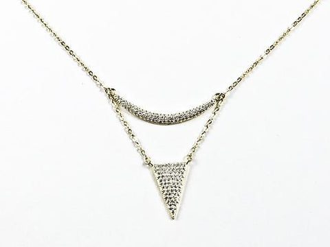 Elegant Modern Layered Triangle Shape Design Gold Tone CZ Silver Necklace