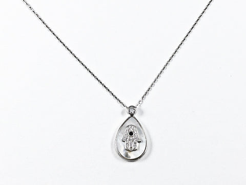 Nice Pear Shape Mother Of Pearl With Hamsa Hand Design Silver Necklace