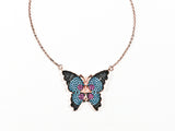 Cute Unique Colorful Micro CZ Butterfly Pink Gold Tone Silver Necklace