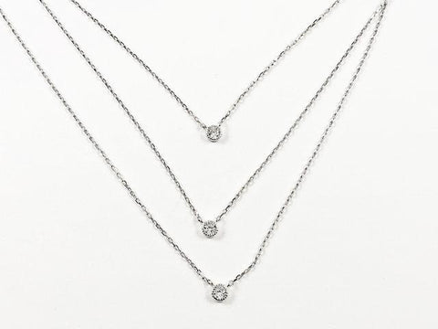 Fine Delicate 3 Piece Layered Bezel CZ Silver Necklace