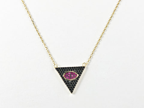 Modern Triangle With Oval Center Design With Micro Ruby & Black CZ Silver Necklace