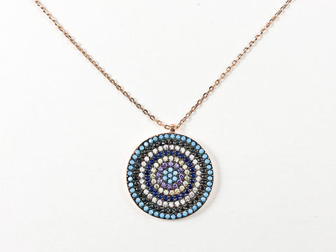 Modern Multi Row & Color Micro CZ Stones Circular Disc Pink Gold Tone Silver Necklace