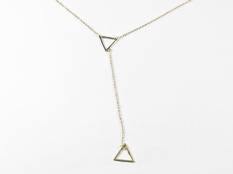 Modern Long Double Triangle Dangle Fun Design Gold Tone Silver Necklace