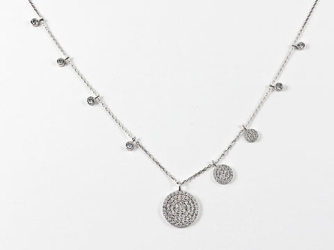 Elegant Multi Round Disc Micro Setting CZ Silver Necklace