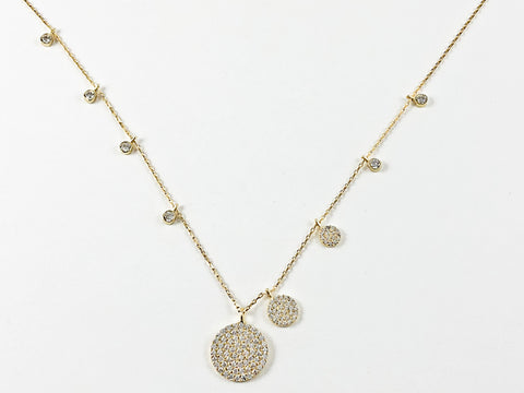 Elegant Multi Round Disc Micro Setting CZ Gold Tone Silver Necklace