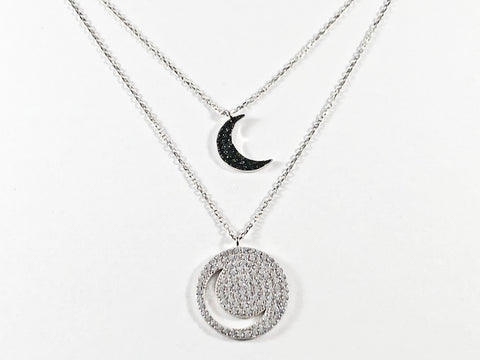 Beautiful Double Moon Shape Layered Design Black & Clear CZ Silver Necklace