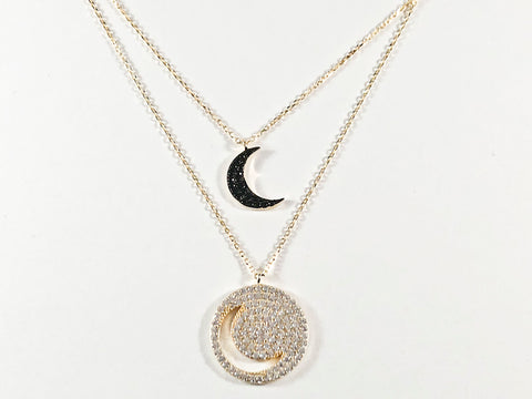 Beautiful Double Moon Shape Layered Design Black & Clear CZ Gold Tone Silver Necklace