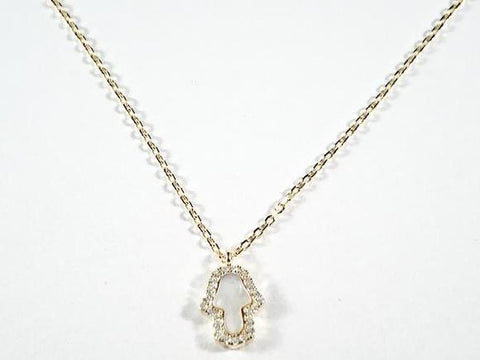 Elegant Dainty Hamsa Hand With Mother Of Pearl CZ Gold Tone Silver Necklace