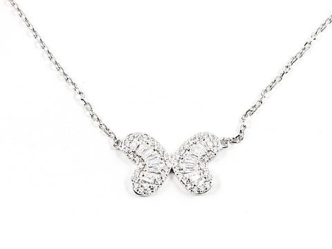 Beautiful Baguette CZ Butterfly Design & Shape Silver Necklace