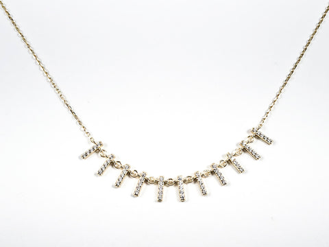 Cute Dainty Multi Bar CZ Gold Tone Silver Necklace