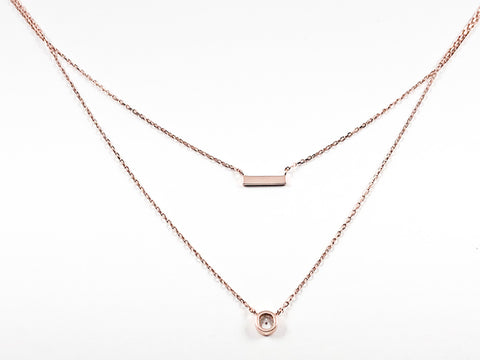 Cute Bar & Bezel CZ Layered Pink Gold Tone Silver Necklace