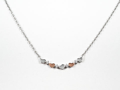 Dainty Cute Micro Two Tone Hearts Design Bar Silver Necklace