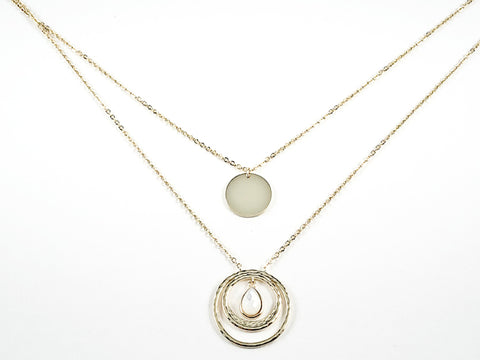 Elegant Double Layered Style Mix Round Disc Design Gold Tone Silver Necklace