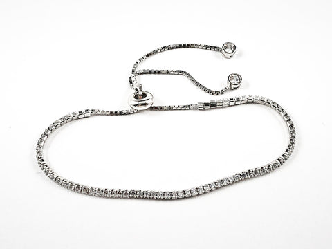 Elegant Thin Delicate Single Row CZ Draw String Silver Bracelet