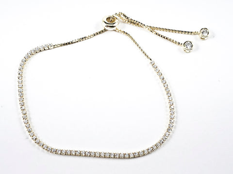 Elegant Thin Delicate Single Row CZ Gold Tone Draw String Silver Bracelet