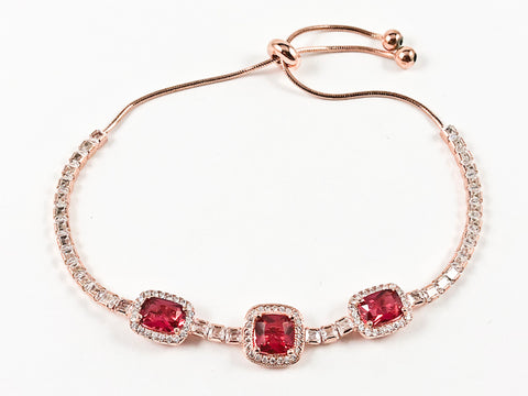 Elegant Square Shape Halo Style Ruby CZ Pink Gold Tone Draw String Silver Bracelet