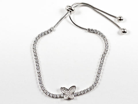 Elegant Beautiful Butterfly CZ Draw String Silver Bracelet