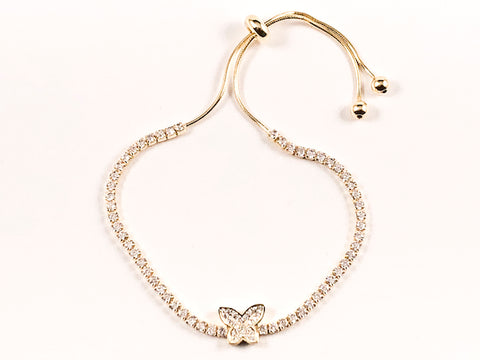 Elegant Beautiful Butterfly CZ Gold Tone Draw String Silver Bracelet