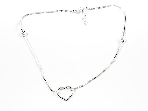 Cute Shiny Metallic Heart Pendant Silver Anklet