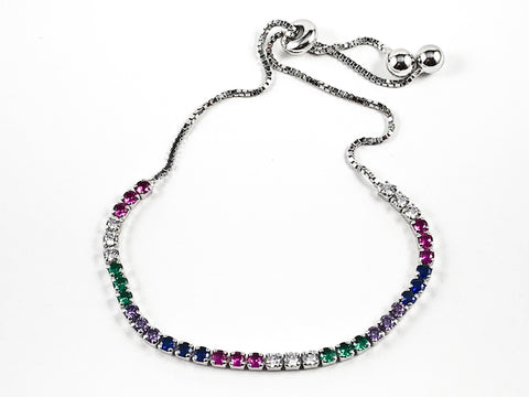Elegant Multi Color Round CZ Thin Draw String Style Silver Bracelet