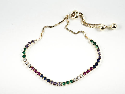 Elegant Multi Color Round CZ Thin Draw String Style Gold Tone Silver Bracelet