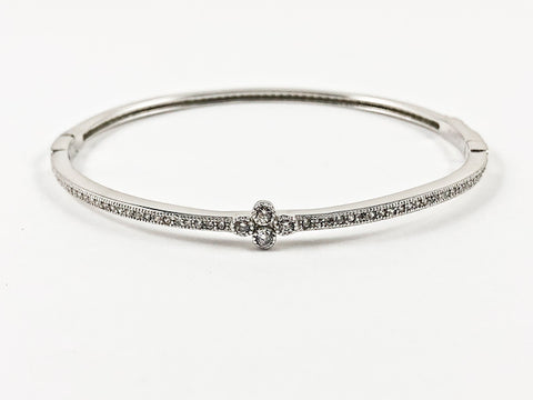 Elegant Dainty Thin Center Floral CZ With CZ All Around Silver Bracelet Bangle