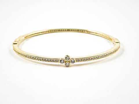Elegant Dainty Thin Center Floral CZ With CZ All Around Gold Tone Silver Bracelet Bangle