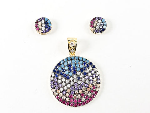 Fun Multi Color Bead Round DiscUnique Pattern Silver Earring Pendant Set