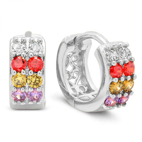 Nice Colorful CZ Pattern Huggie Brass Earrings
