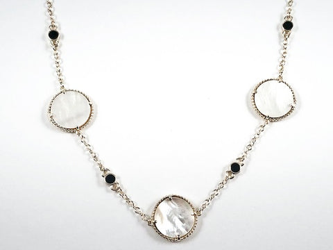 Elegant Round Disc Mother Or Pearl With Small Black Onyx Round Discs Gold Tone Long Brass Necklace