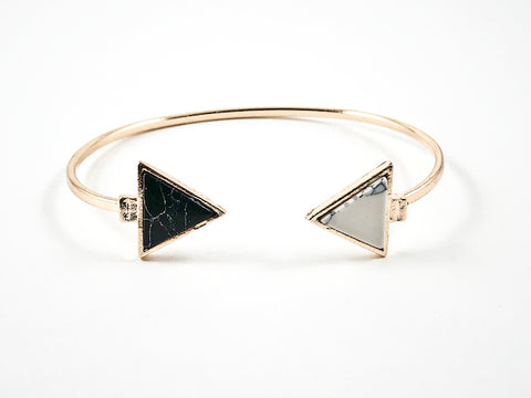 Fun Duo Black & White Arrow Design Ends Stone Thin Gold Tone Brass Bangle