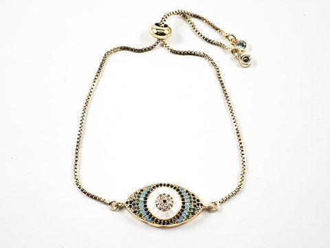 Beautiful Colorful Evil Eye CZ Design Gold Tone Draw String Brass Bracelet