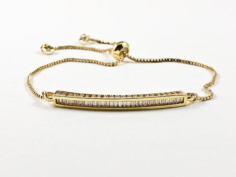 Beautiful Baguette Bar CZ Design Gold Tone Draw String Brass Bracelet