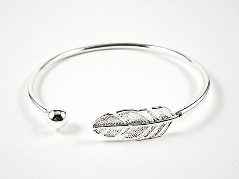 Realistic Duo Floral Leaf & Silver Ball Charm Thin Cuff Silver Bangle