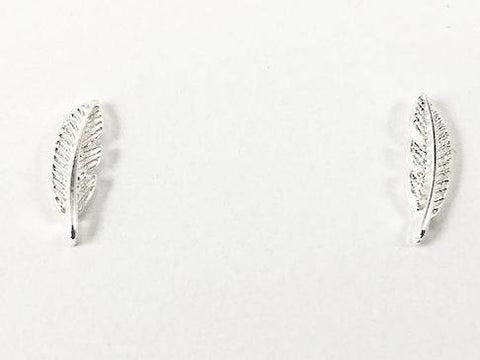 Dainty Realistic Floral Leaf Design Metallic Silver Earrings