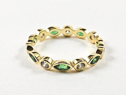Round & Diamond Emerald Color Bezel CZ Pattern Gold Tone Eternity Silver Ring