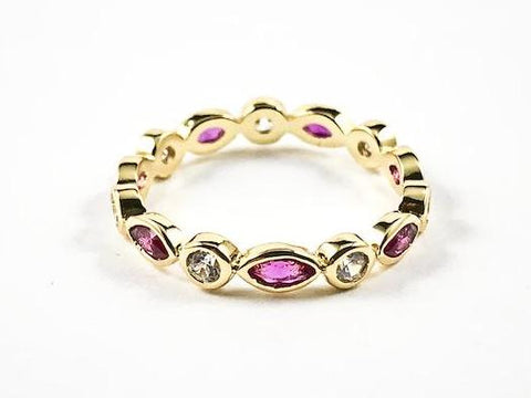 Round & Diamond Pink Color Bezel CZ Pattern Gold Tone Eternity Silver Ring
