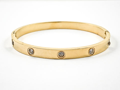 Modern Crystal Gold Tone Stel Bangle