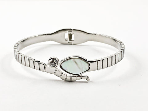 Modern Mother Of Pearl With CZ Bezel Wrap Hinge Steel Bangle