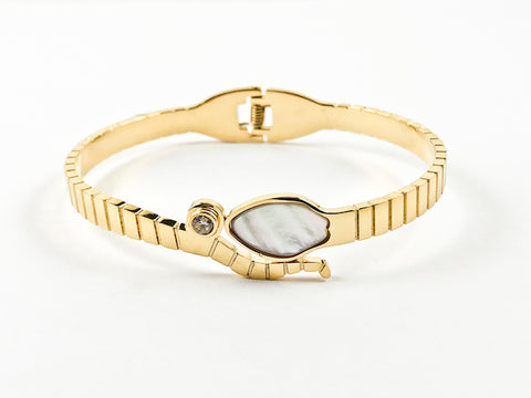 Modern Mother Of Pearl With CZ Bezel Wrap Hinge Gold Tone Steel Bangle