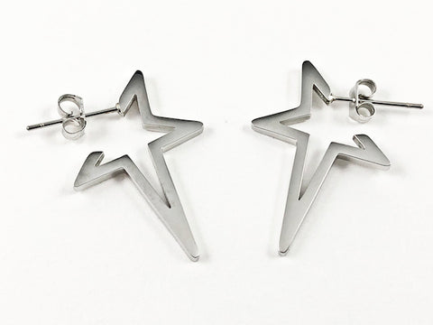 Modern Star Shape Frame & Form Silver Tone Steel Earrings