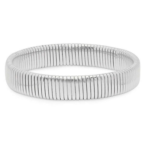 Modern Textured Band Semi Stretch Steel Bracelet