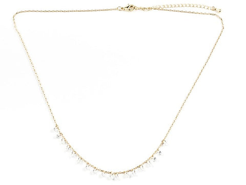 Cute Dainty Multi Crystal Charm Dangle Style Gold Tone Brass Necklace
