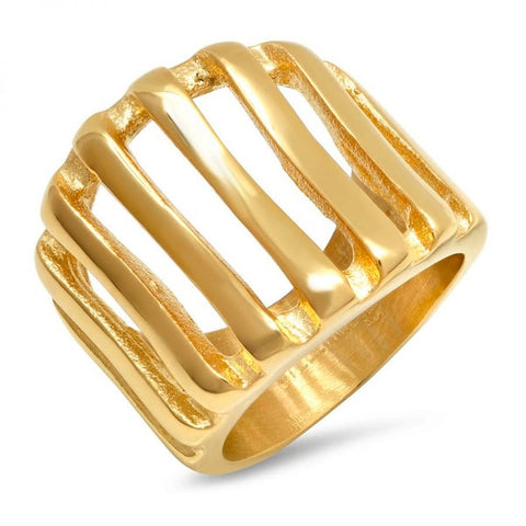 Modern Multi Line Cage Style Design Gold Tone Steel Ring