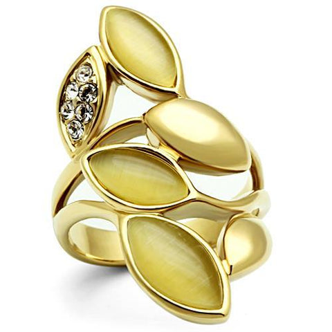 Unique Long Floral Leaf Yellow Color Stones Gold Tone Brass Ring