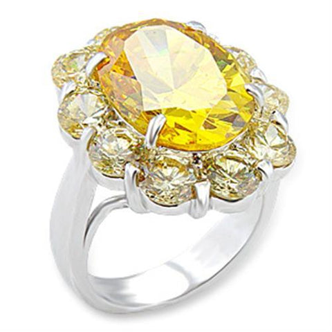 Nice Sunflower Design With Citrine & Champagne Color CZ Brass Ring