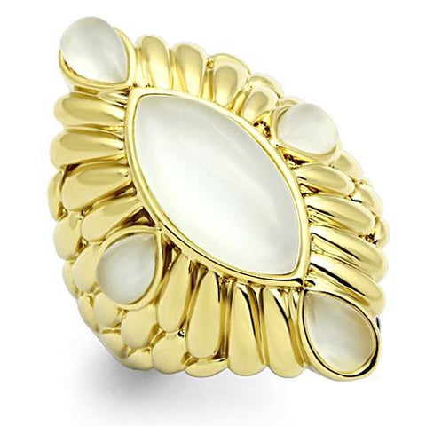 Unique Antique Style Diamond Shape Mother Of Pearl Stone Gold Tone Brass Ring