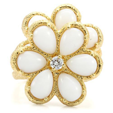 Beautiful Unique Layered Floral White Stone Gold Tone Brass Ring