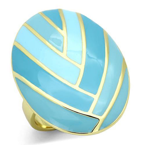 Unique Large Colorful Oval Shape Blue Pattern Gold Tone Steel Ring